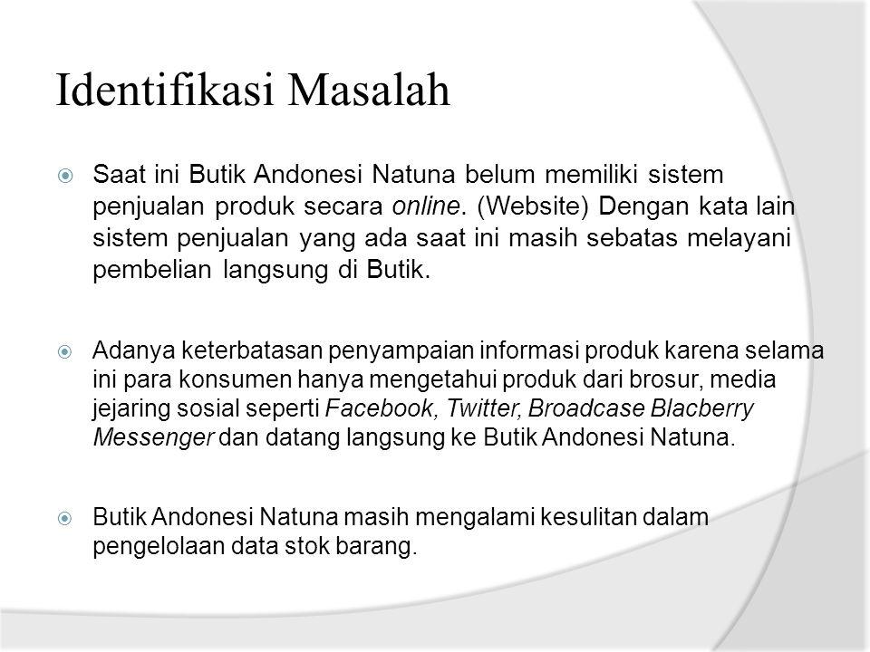 Identifikasi Masalah  Saat ini Butik Andonesi Natuna belum memiliki sistem penjualan produk secara online. (Website) Dengan kata lain sistem penjuala