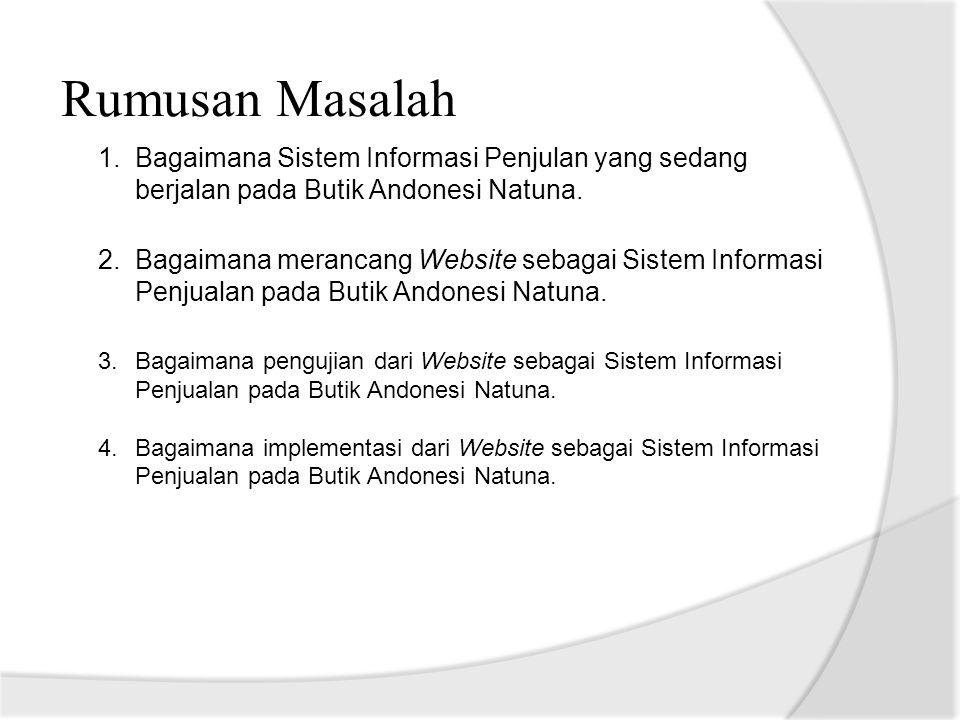 Rumusan Masalah 1.Bagaimana Sistem Informasi Penjulan yang sedang berjalan pada Butik Andonesi Natuna. 2.Bagaimana merancang Website sebagai Sistem In