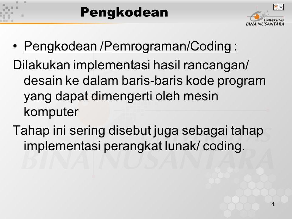 4 Pengkodean Pengkodean /Pemrograman/Coding : Dilakukan implementasi hasil rancangan/ desain ke dalam baris-baris kode program yang dapat dimengerti oleh mesin komputer Tahap ini sering disebut juga sebagai tahap implementasi perangkat lunak/ coding.