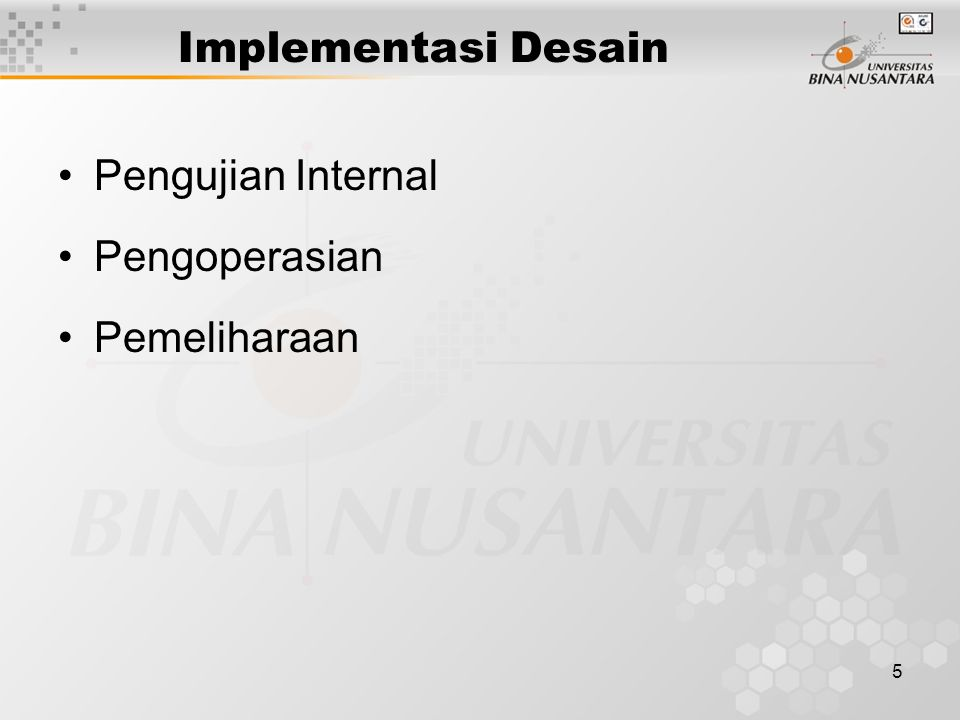 5 Implementasi Desain Pengujian Internal Pengoperasian Pemeliharaan
