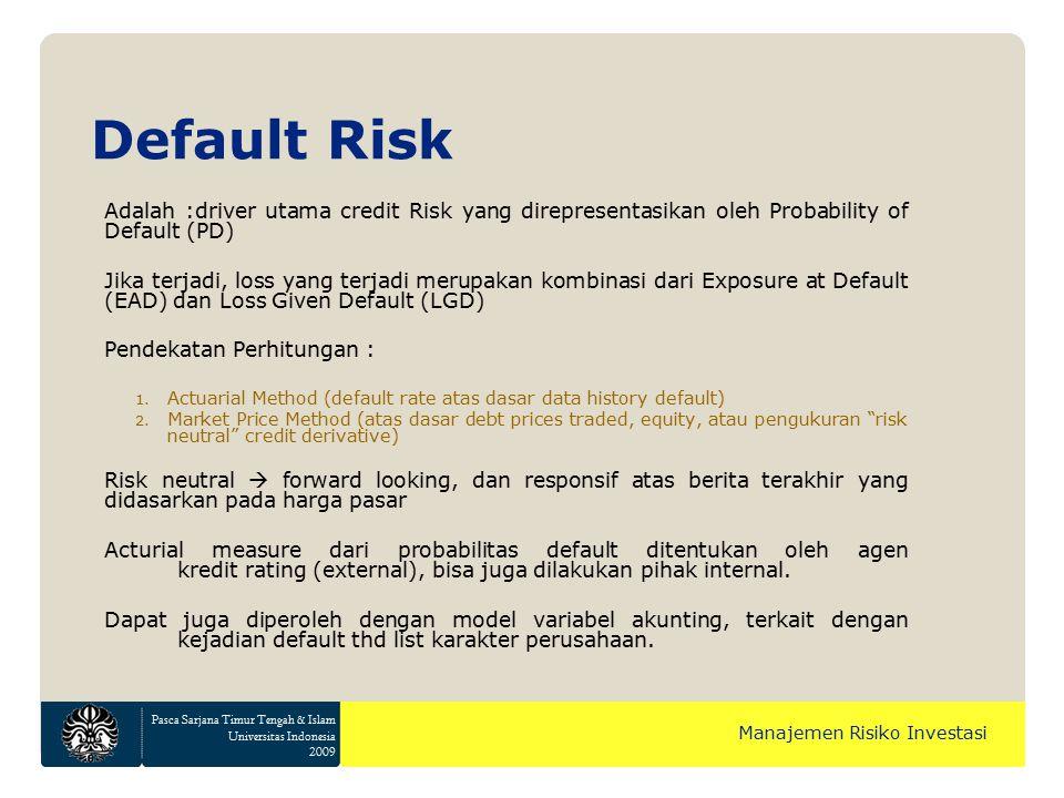 Pasca Sarjana Timur Tengah & Islam Universitas Indonesia 2009 Manajemen Risiko Investasi Default Risk Adalah :driver utama credit Risk yang direpresen