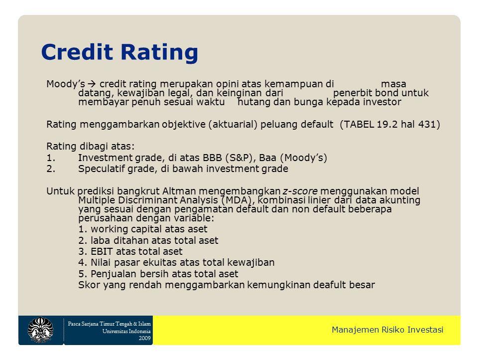 Pasca Sarjana Timur Tengah & Islam Universitas Indonesia 2009 Manajemen Risiko Investasi Moody's  credit rating merupakan opini atas kemampuan di mas