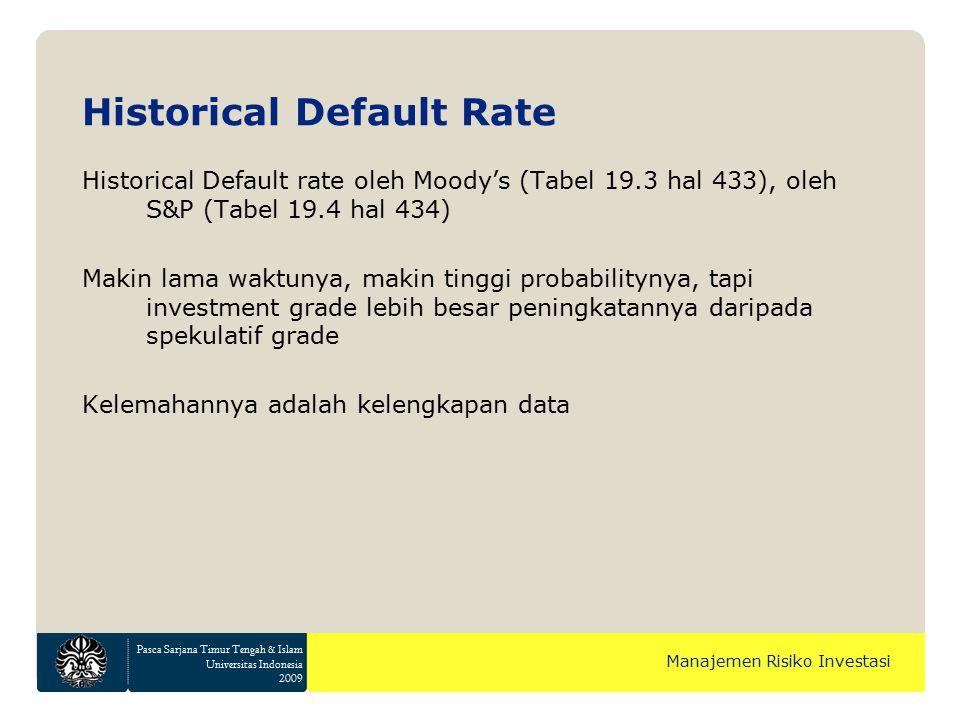 Pasca Sarjana Timur Tengah & Islam Universitas Indonesia 2009 Manajemen Risiko Investasi Historical Default rate oleh Moody's (Tabel 19.3 hal 433), ol