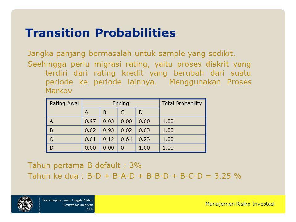 Pasca Sarjana Timur Tengah & Islam Universitas Indonesia 2009 Manajemen Risiko Investasi Jangka panjang bermasalah untuk sample yang sedikit. Seehingg