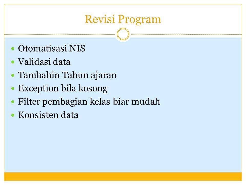 Revisi Program Otomatisasi NIS Validasi data Tambahin Tahun ajaran Exception bila kosong Filter pembagian kelas biar mudah Konsisten data
