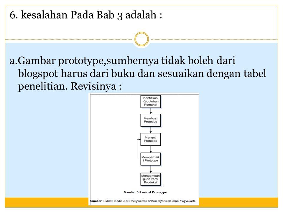 6. kesalahan Pada Bab 3 adalah : a.Gambar prototype,sumbernya tidak boleh dari blogspot harus dari buku dan sesuaikan dengan tabel penelitian. Revisin