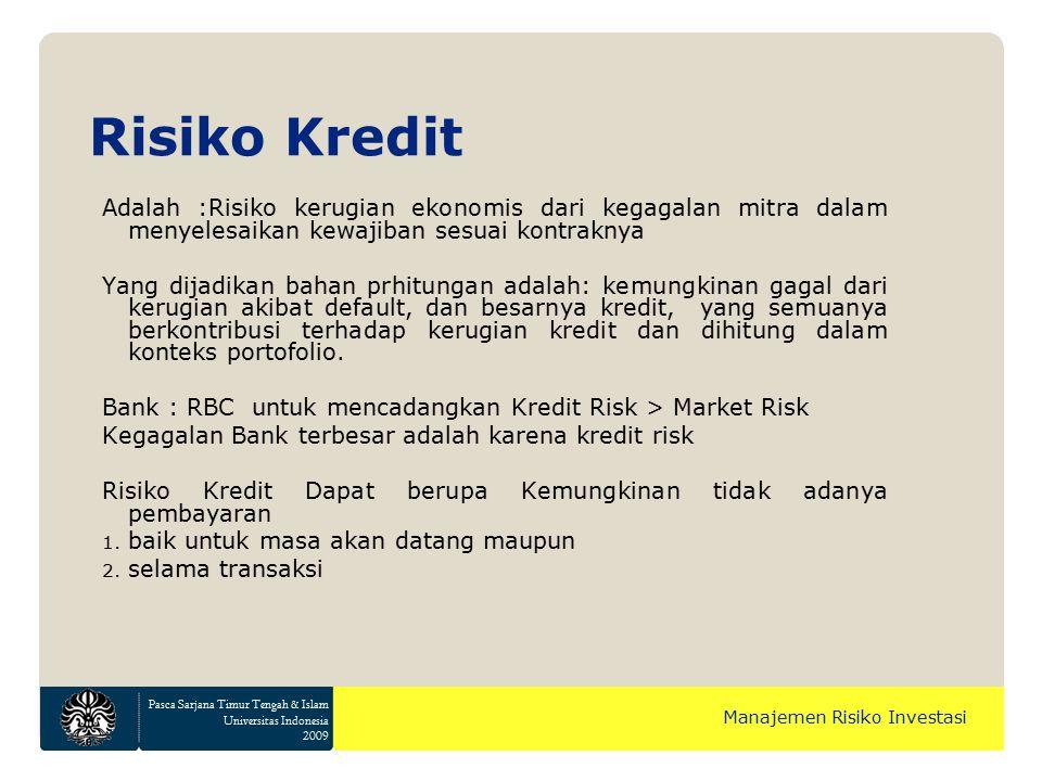 Pasca Sarjana Timur Tengah & Islam Universitas Indonesia 2009 Manajemen Risiko Investasi Risiko Kredit Adalah :Risiko kerugian ekonomis dari kegagalan