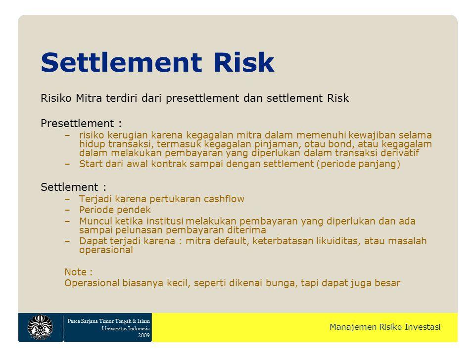 Pasca Sarjana Timur Tengah & Islam Universitas Indonesia 2009 Manajemen Risiko Investasi Risiko Mitra terdiri dari presettlement dan settlement Risk P