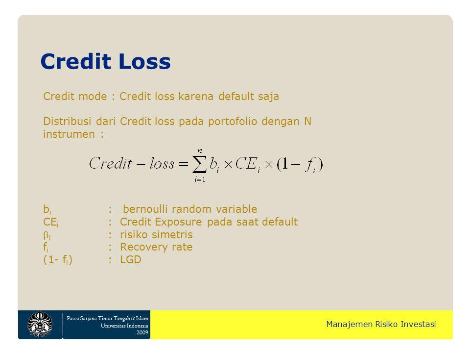 Pasca Sarjana Timur Tengah & Islam Universitas Indonesia 2009 Manajemen Risiko Investasi Credit mode : Credit loss karena default saja Distribusi dari