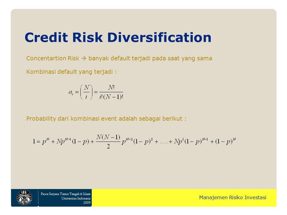 Pasca Sarjana Timur Tengah & Islam Universitas Indonesia 2009 Manajemen Risiko Investasi Concentartion Risk  banyak default terjadi pada saat yang sama Kombinasi default yang terjadi : Probability dari kombinasi event adalah sebagai berikut : Credit Risk Diversification