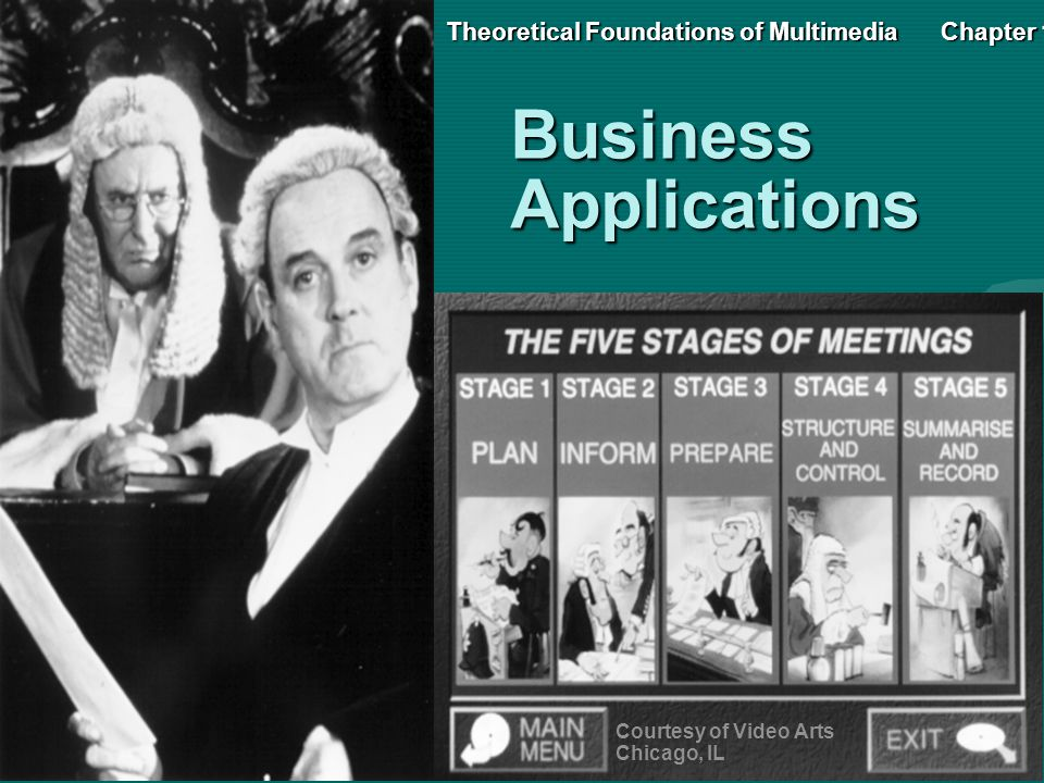 BusinessApplications Courtesy of Video Arts Chicago, IL Theoretical Foundations of MultimediaChapter 1