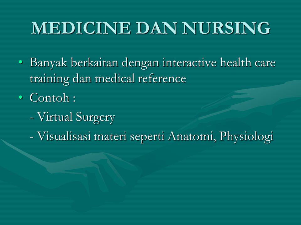 MEDICINE DAN NURSING Banyak berkaitan dengan interactive health care training dan medical referenceBanyak berkaitan dengan interactive health care tra