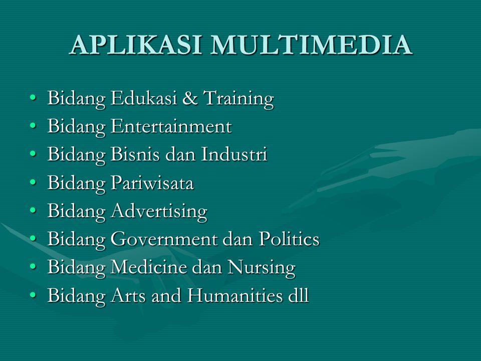 APLIKASI MULTIMEDIA Bidang Edukasi & TrainingBidang Edukasi & Training Bidang EntertainmentBidang Entertainment Bidang Bisnis dan IndustriBidang Bisni