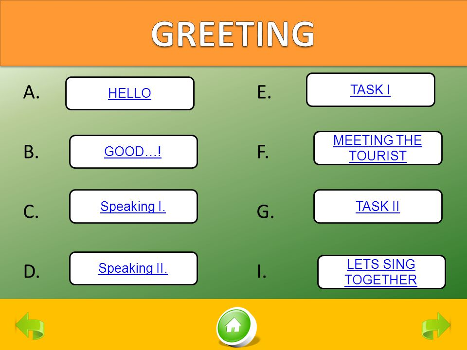 A.E. B.F. C.G. D.I. HELLO Speaking I. Speaking II. GOOD…! TASK I MEETING THE TOURIST TASK II LETS SING TOGETHER