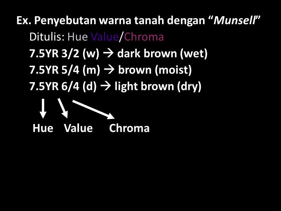 "Ex. Penyebutan warna tanah dengan ""Munsell"" Ditulis: Hue Value/Chroma 7.5YR 3/2 (w)  dark brown (wet) 7.5YR 5/4 (m)  brown (moist) 7.5YR 6/4 (d)  l"