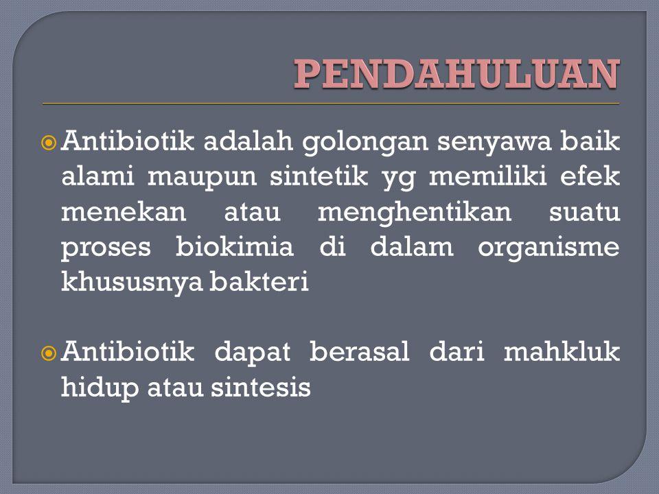  Antibiotik adalah golongan senyawa baik alami maupun sintetik yg memiliki efek menekan atau menghentikan suatu proses biokimia di dalam organisme kh
