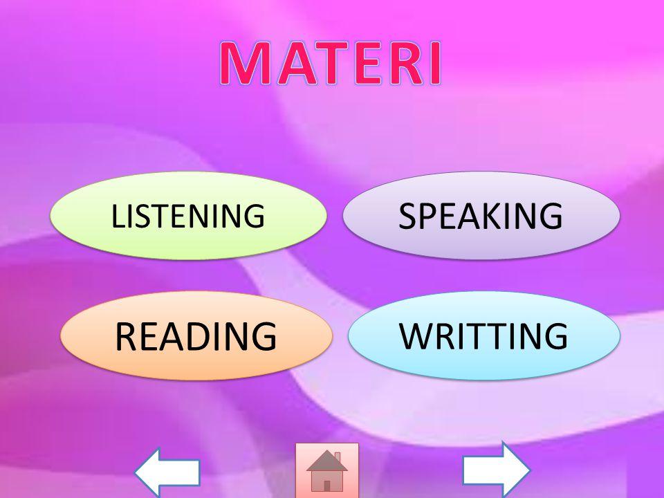 Merespon dengan melakukan tindakan sesuai instruksi secara berterima dalam konteks kelas Bercakap-cakap untuk menyertai tindakan secara berterimayang melibatkan tindak tutur:mengenalkan diri, memberi salam/sapaan, memberi salam perpisahan dan memberi aba-aba Membaca nyaring dengan melafalkan alfabet dan ucapan yang tepat yang melibatkan kata, frasa, dan kalimat sangat sederhana Mengeja ujaran bahsa inggris sangat sederhana secara tepat dan berterima dengan tanda baca yang benar yang melibatkan kata, frasa, dan kalimat sangat sederhana