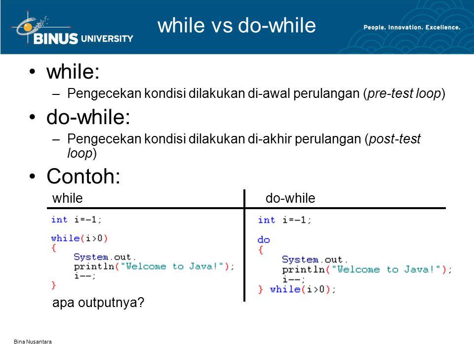 Bina Nusantara while vs do-while while: –Pengecekan kondisi dilakukan di-awal perulangan (pre-test loop) do-while: –Pengecekan kondisi dilakukan di-akhir perulangan (post-test loop) Contoh: whiledo-while apa outputnya?