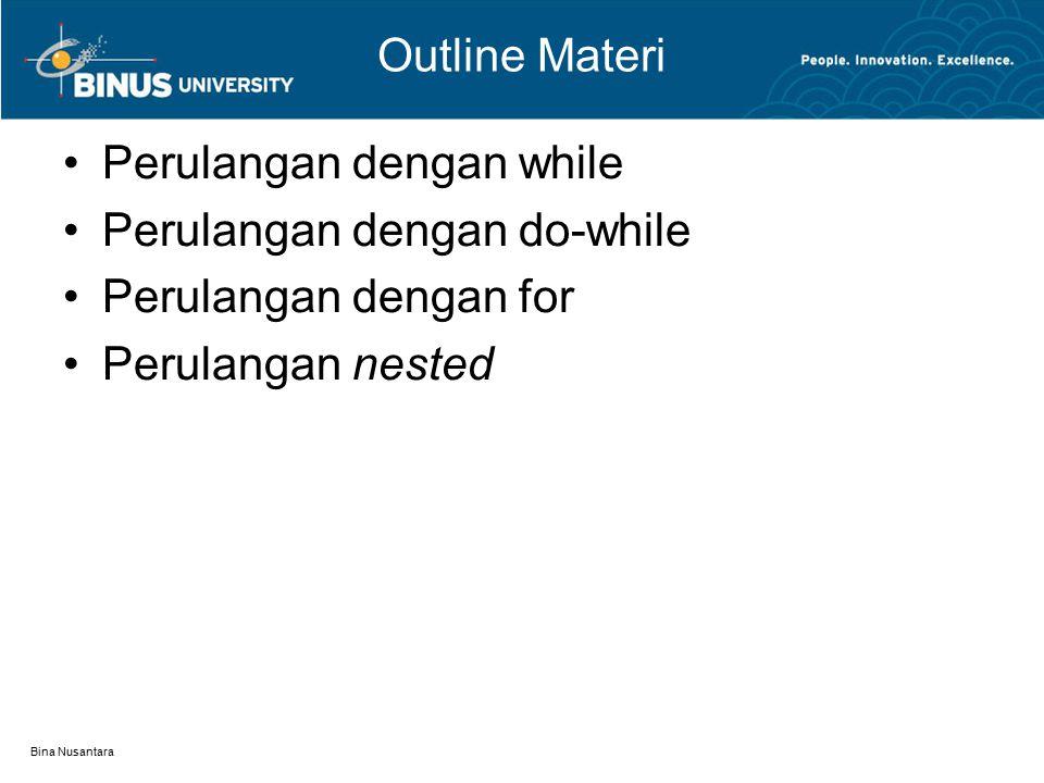 Bina Nusantara Outline Materi Perulangan dengan while Perulangan dengan do-while Perulangan dengan for Perulangan nested
