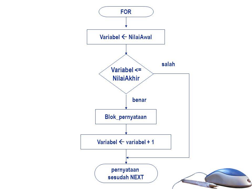 FOR Variabel <= NilaiAkhir Blok_pernyataan pernyataan sesudah NEXT benar salah Variabel  NilaiAwal Variabel  variabel + 1