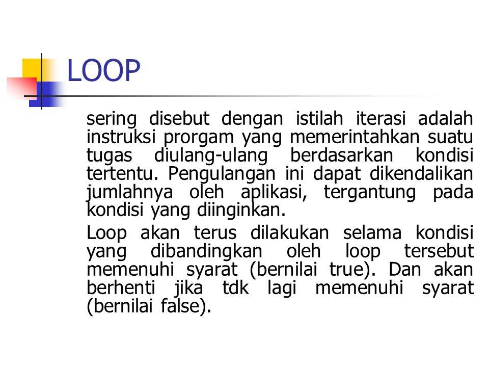 LOOP sering disebut dengan istilah iterasi adalah instruksi prorgam yang memerintahkan suatu tugas diulang-ulang berdasarkan kondisi tertentu. Pengula