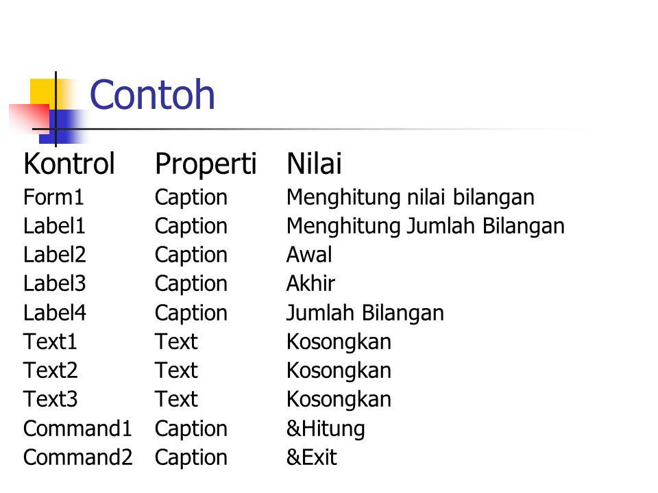 Contoh KontrolPropertiNilai Form1CaptionMenghitung nilai bilangan Label1CaptionMenghitung Jumlah Bilangan Label2CaptionAwal Label3CaptionAkhir Label4C