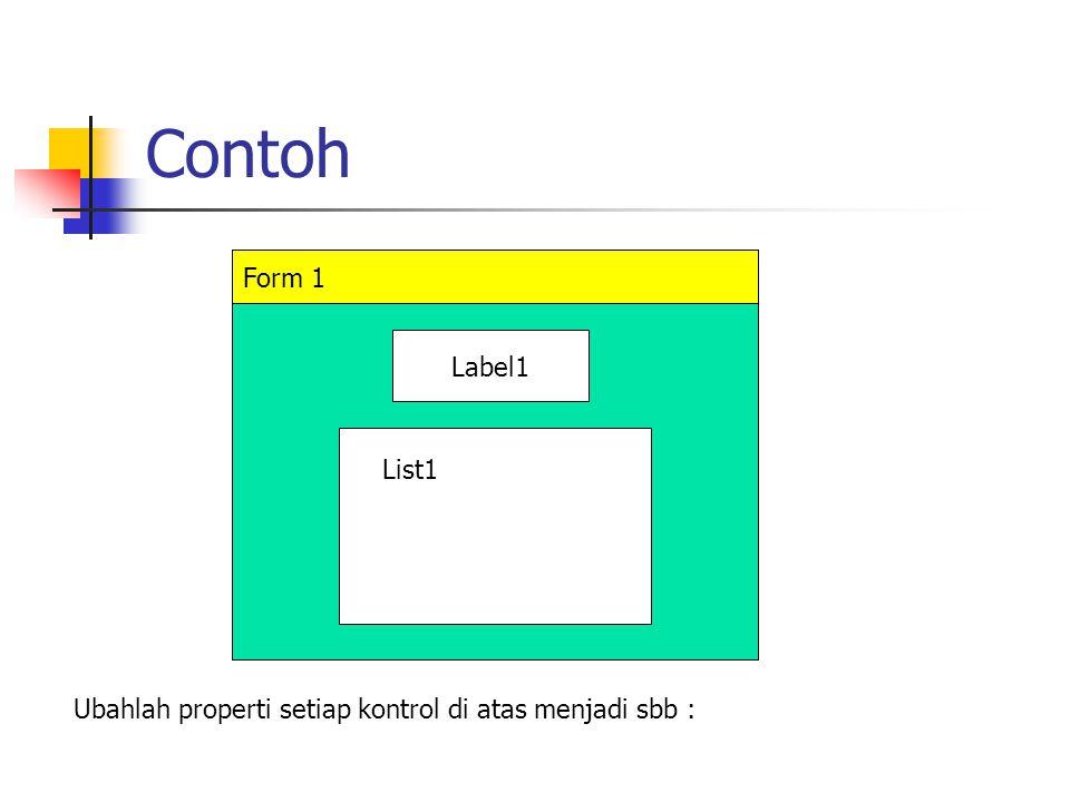 Contoh KontrolPropertiNilai Form1CaptionContoh Do While Label1CaptionNama-nama yang dinput