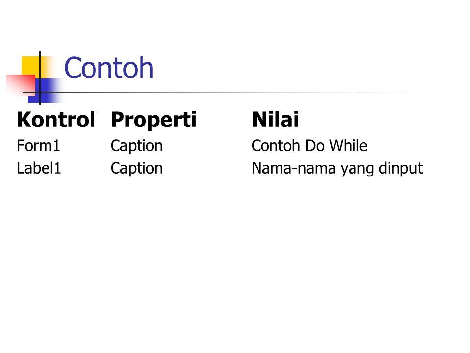 Contoh Form1 Label1 Label2 Label4 Text1 Text3 Label3Text2 Command1 Command2 Ubalah properti setiap kontrol menjadi sbb :