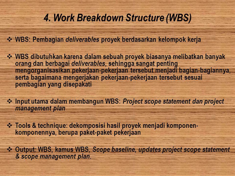 4. Work Breakdown Structure (WBS)  WBS: Pembagian deliverables proyek berdasarkan kelompok kerja  WBS dibutuhkan karena dalam sebuah proyek biasanya