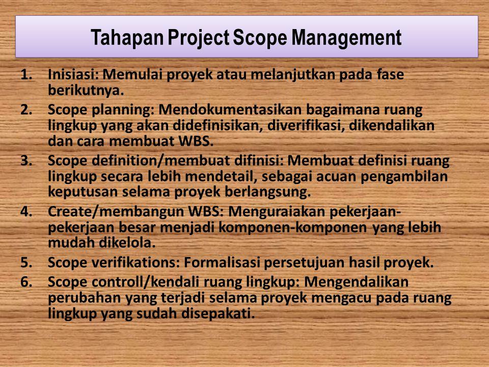 Tahapan Project Scope Management 1.Inisiasi: Memulai proyek atau melanjutkan pada fase berikutnya. 2.Scope planning: Mendokumentasikan bagaimana ruang