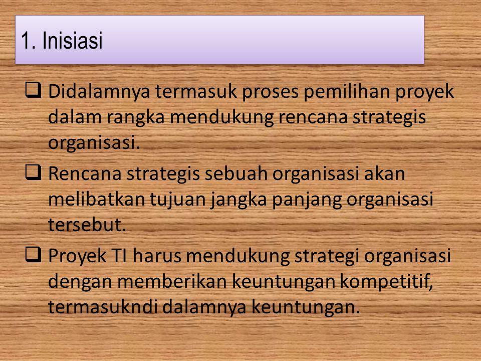 1. Inisiasi  Didalamnya termasuk proses pemilihan proyek dalam rangka mendukung rencana strategis organisasi.  Rencana strategis sebuah organisasi a