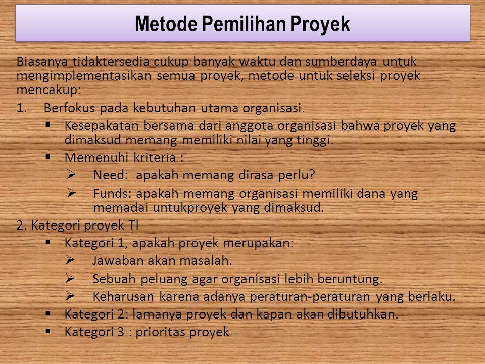 Metode Pemilihan Proyek Biasanya tidaktersedia cukup banyak waktu dan sumberdaya untuk mengimplementasikan semua proyek, metode untuk seleksi proyek m