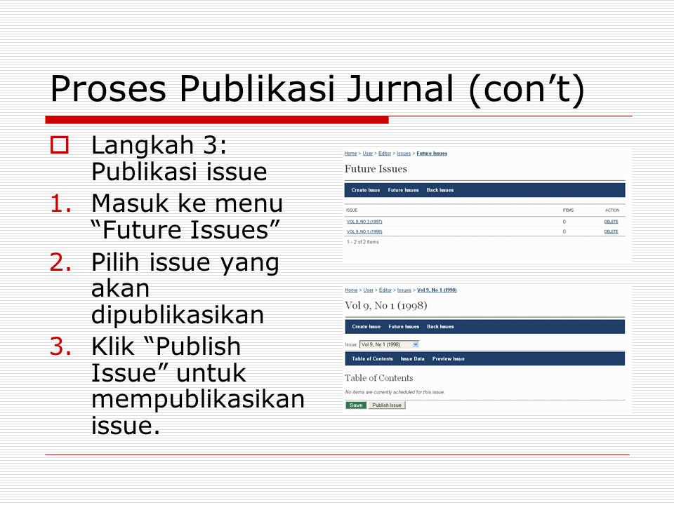 "Proses Publikasi Jurnal (con't)  Langkah 3: Publikasi issue 1.Masuk ke menu ""Future Issues"" 2.Pilih issue yang akan dipublikasikan 3.Klik ""Publish Is"