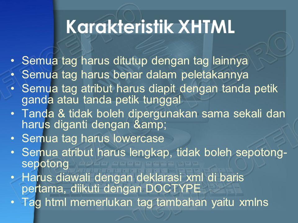 Karakteristik XHTML Semua tag harus ditutup dengan tag lainnya Semua tag harus benar dalam peletakannya Semua tag atribut harus diapit dengan tanda pe