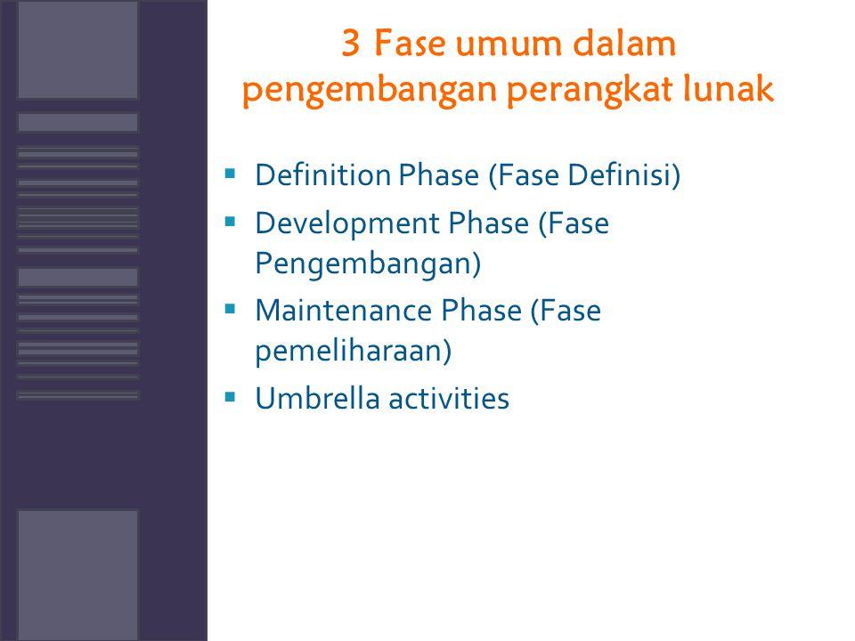 3 Fase umum dalam pengembangan perangkat lunak  Definition Phase (Fase Definisi)  Development Phase (Fase Pengembangan)  Maintenance Phase (Fase pe