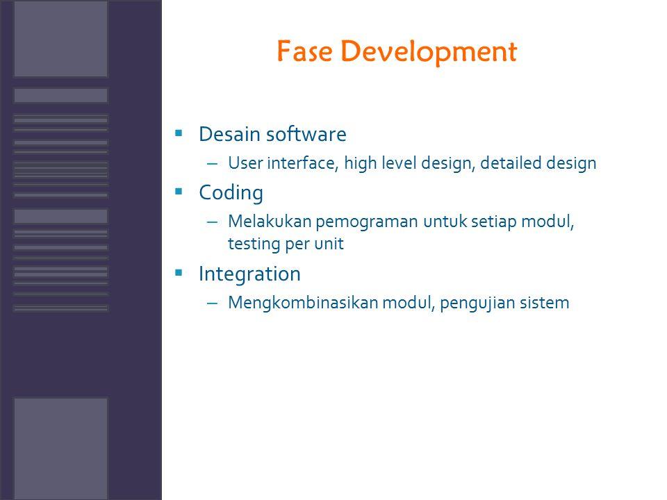 Fase Development  Desain software – User interface, high level design, detailed design  Coding – Melakukan pemograman untuk setiap modul, testing pe