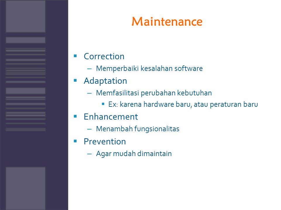 Maintenance  Correction – Memperbaiki kesalahan software  Adaptation – Memfasilitasi perubahan kebutuhan  Ex: karena hardware baru, atau peraturan