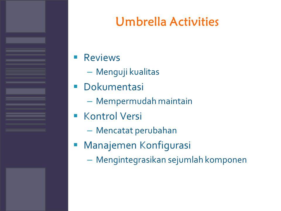 Umbrella Activities  Reviews – Menguji kualitas  Dokumentasi – Mempermudah maintain  Kontrol Versi – Mencatat perubahan  Manajemen Konfigurasi – M