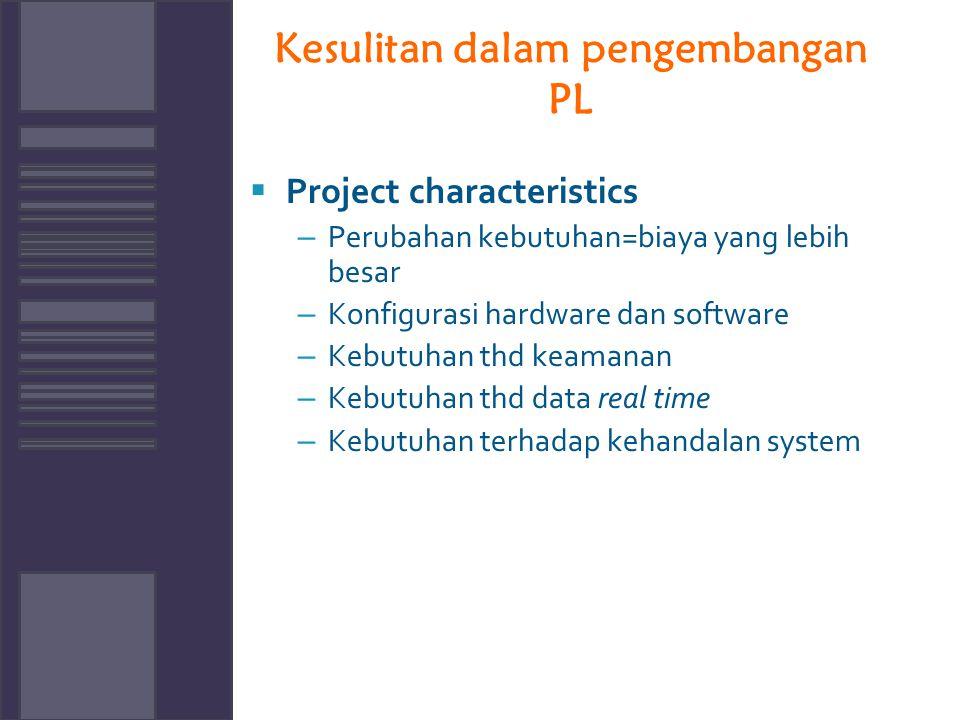 Kesulitan dalam pengembangan PL  Project characteristics – Perubahan kebutuhan=biaya yang lebih besar – Konfigurasi hardware dan software – Kebutuhan