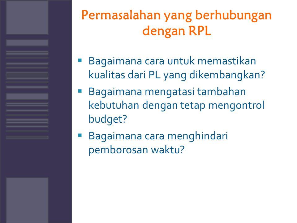 Permasalahan yang berhubungan dengan RPL  Bagaimana cara untuk memastikan kualitas dari PL yang dikembangkan?  Bagaimana mengatasi tambahan kebutuha