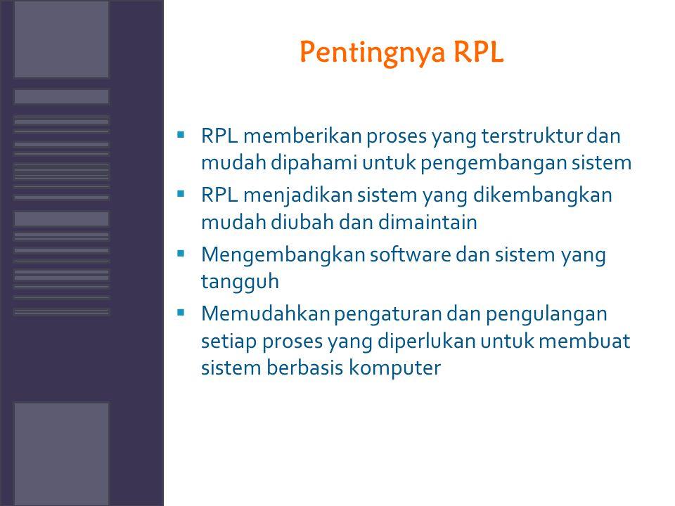 Pentingnya RPL  RPL memberikan proses yang terstruktur dan mudah dipahami untuk pengembangan sistem  RPL menjadikan sistem yang dikembangkan mudah d