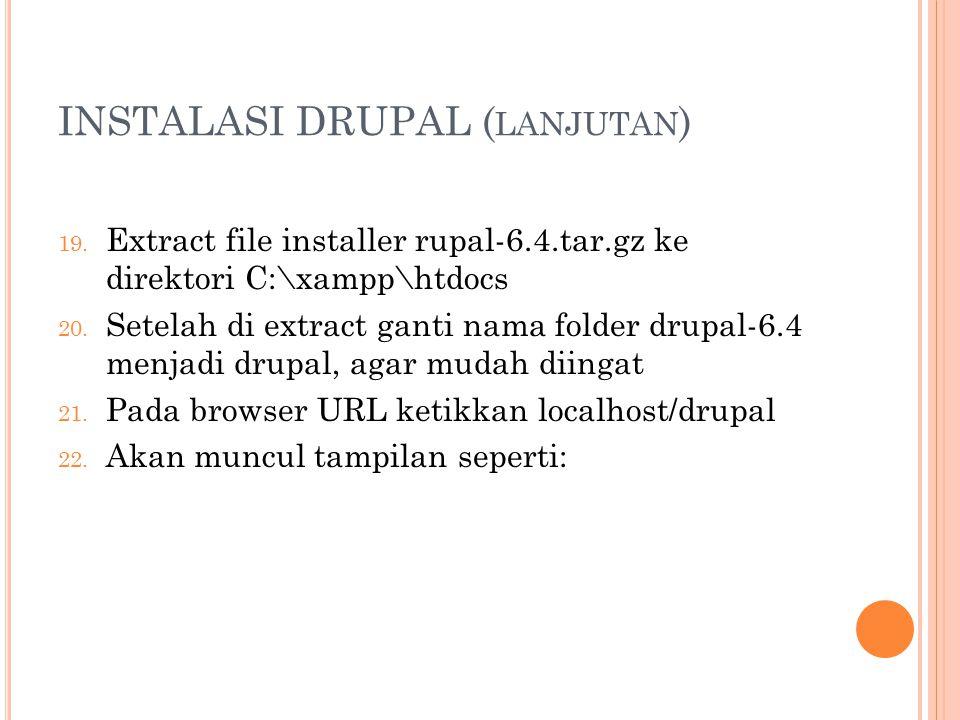 INSTALASI DRUPAL ( LANJUTAN ) 19.