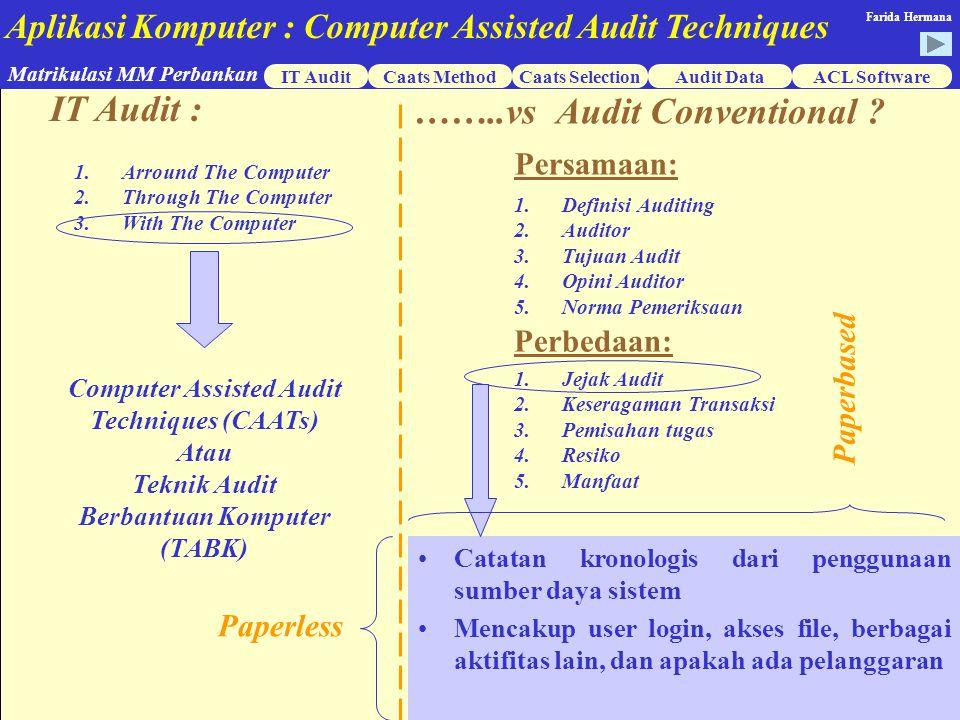 Aplikasi Komputer : Computer Assisted Audit Techniques IT AuditCaats MethodCaats SelectionACL Software Matrikulasi MM Perbankan Farida Hermana Audit Data Lembar Kerja Pemeriksaan Arround The Computer Apakah kebijaksanaan pengamanan penggunaan aplikasi telah memperhatikan prinsip-prinsip umum kontrol aplikasi yang meliputi : Pemisahaan tugas …….antara … pengguna, operasi, dan pengembangan Y/T Penggunaan … hanya ….