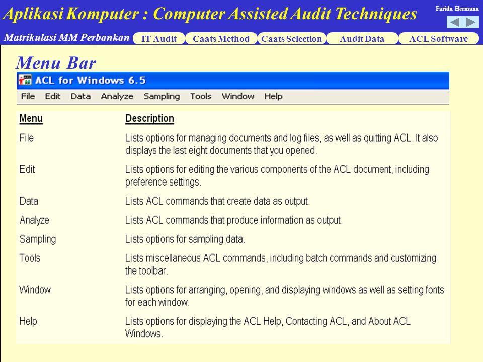 Aplikasi Komputer : Computer Assisted Audit Techniques IT AuditCaats MethodCaats SelectionACL Software Matrikulasi MM Perbankan Farida Hermana Audit Data Menu Bar