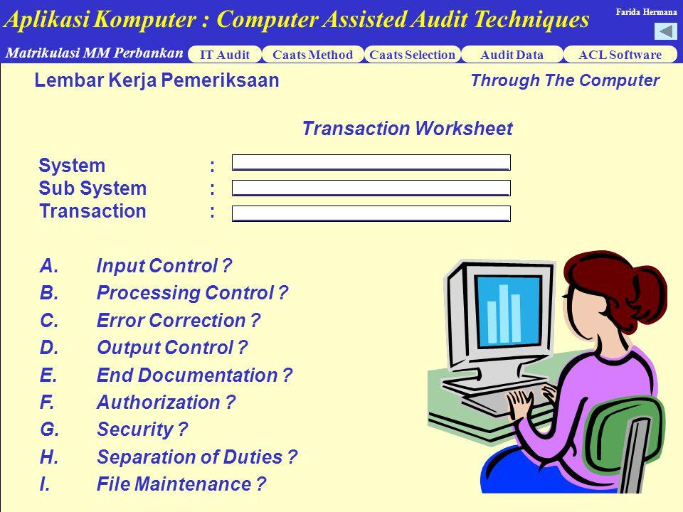 Aplikasi Komputer : Computer Assisted Audit Techniques IT AuditCaats MethodCaats SelectionACL Software Matrikulasi MM Perbankan Farida Hermana Audit Data Lembar Kerja Pemeriksaan Through The Computer Transaction Worksheet A.