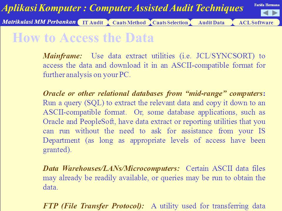 Aplikasi Komputer : Computer Assisted Audit Techniques IT AuditCaats MethodCaats SelectionACL Software Matrikulasi MM Perbankan Farida Hermana Audit Data  Flat Sequential  Dbase  Text  Delimited  Print Files  ODBC  Tape Misalnya : nama terdiri dari nama awal dan nama akhir.
