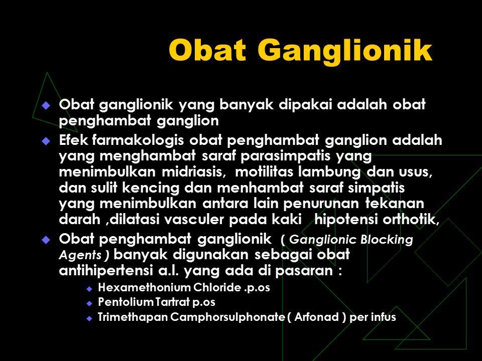 Obat Ganglionik  Obat ganglionik yang banyak dipakai adalah obat penghambat ganglion  Efek farmakologis obat penghambat ganglion adalah yang mengham