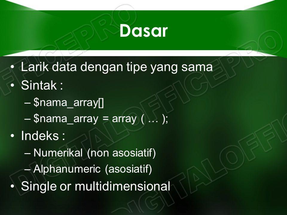 Dasar Larik data dengan tipe yang sama Sintak : –$nama_array[] –$nama_array = array ( … ); Indeks : –Numerikal (non asosiatif) –Alphanumeric (asosiati