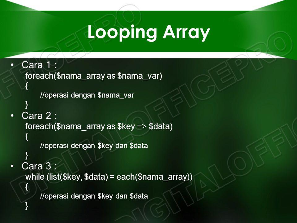 Looping Array Cara 1 : foreach($nama_array as $nama_var) { //operasi dengan $nama_var } Cara 2 : foreach($nama_array as $key => $data) { //operasi den