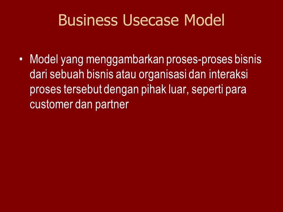 Business Usecase Model Model yang menggambarkan proses-proses bisnis dari sebuah bisnis atau organisasi dan interaksi proses tersebut dengan pihak lua